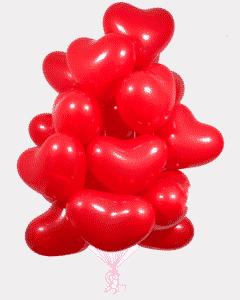 Облако или связка из гелиевых шаров сердечек