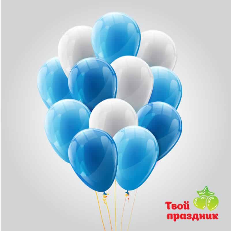 Воздушные латексные шары в сине-голубой гамме наполненные гелием.