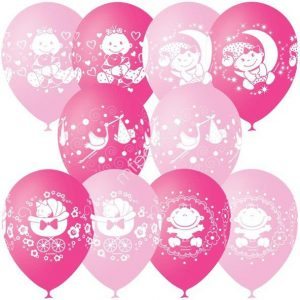 Облако или связка из воздушных шаров на рождение девочки