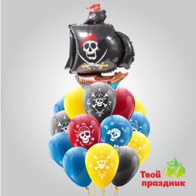 """Пиратский букет с гелиевыми шарами """"Веселый роджер"""""""