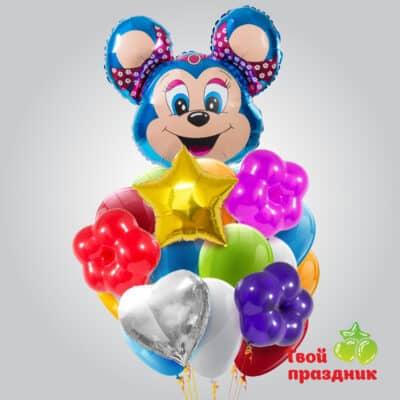 Букет из гелиевых воздушных шаров «Веселый Микки-Маус»