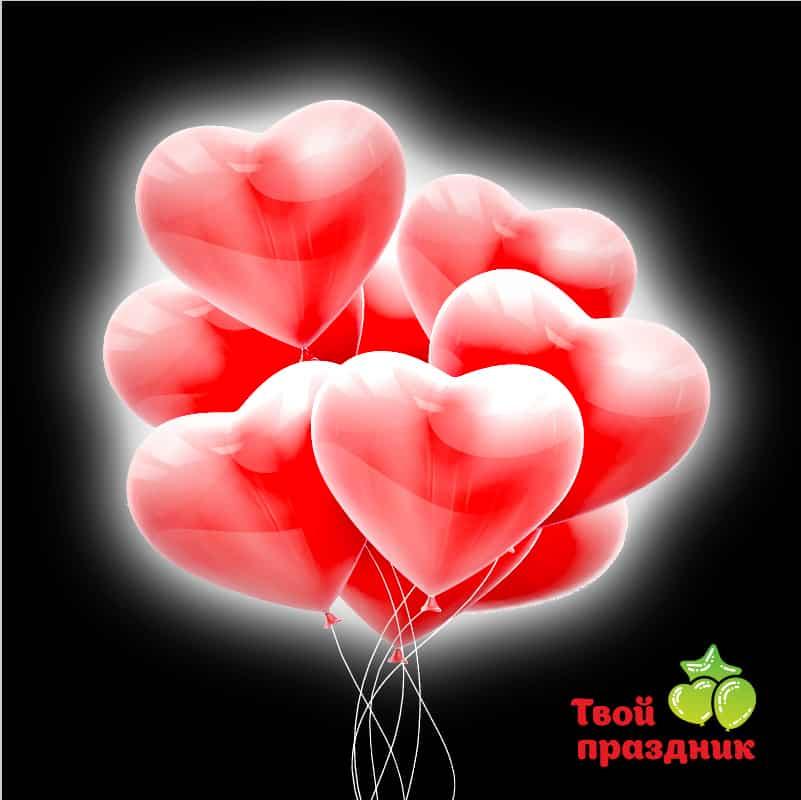 Облако из светящихся воздушных шаров сердечек