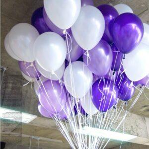 Облако или связка воздушных шаров с гелием металлик и перламутр