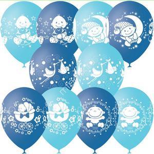 """Облако или связка из воздушных шаров на выписку """"Ура! Мальчик!"""""""