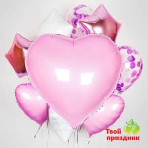 """Набор гелиевых шаров """"Утренняя роза"""" с большим сердцем"""