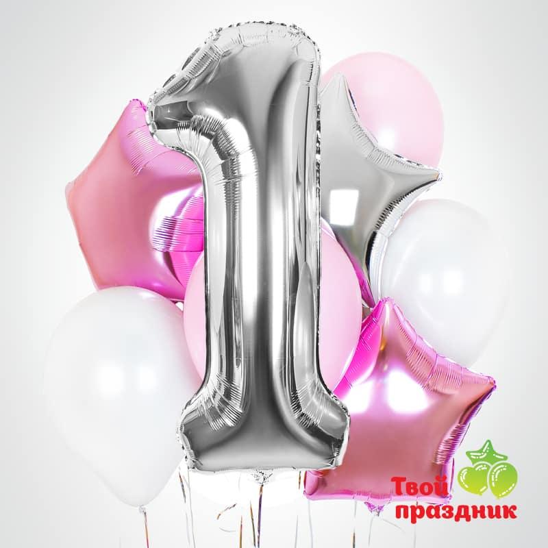Набор воздушных гелиевых шаров с цифрой «Розовые замки»
