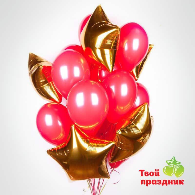 Букет из гелиевых воздушных шаров «Красное золото»