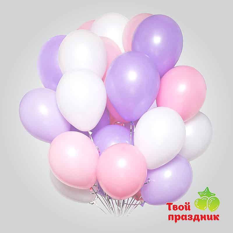Облако из воздушных нежных гелиевых шаров для девушки