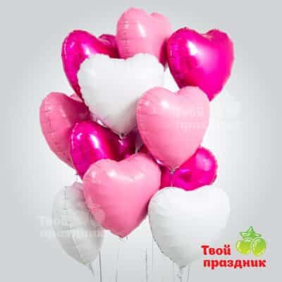 Малиновый восход - набор фольгированных шаров сердец