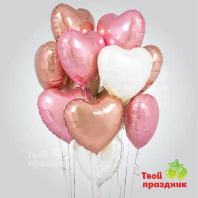 Розовое золото - набор фольгированных шаров сердец