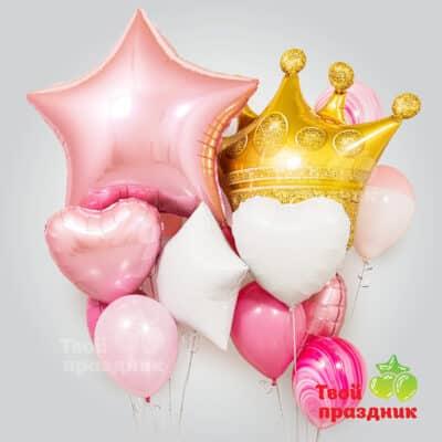 Набор гелиевых шаров с короной. Твой праздник, Калининград