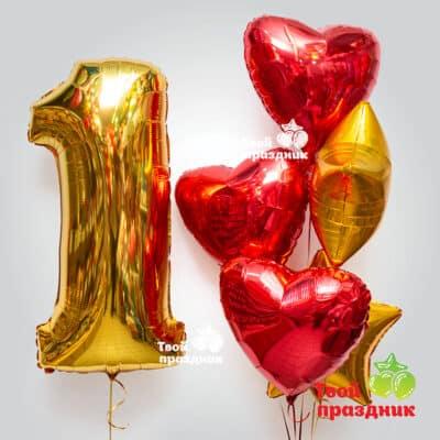 """Набор фольгированных шаров с цифрой """"Яркий блеск"""", """"Твой праздник"""", Калининград. Доставка 24/7"""